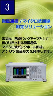 衛星通信/マイクロ波回線測定ソリューション 震災後、海鮮バックアップとして再び注目される衛星通信。マイクロ波バックホール回線。アンリツ製品が力を発揮します。