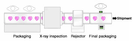Example 1: X-ray inspection system for chocolate packaging line