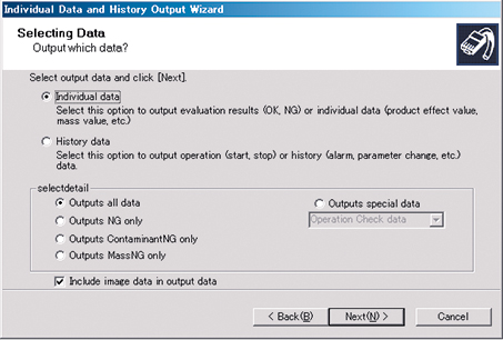 Data output wizard extracts inspection records