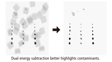 Dual energy subtraction better highlights contaminants