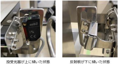 投受光器が上に傾いた状態、反射板が下に傾いた状態