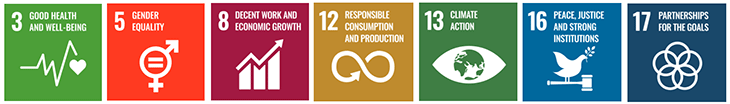 SDGs 3,5,8,12,13,16, and 17