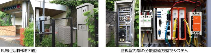 現場(長津田地下道)、監視盤内部の分散型遠方監視システム
