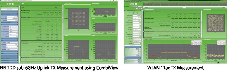 NR TDD sub6GHz Uplink TX Measurement using CombiView, WLAN 11ax TX Measurement using CombiView