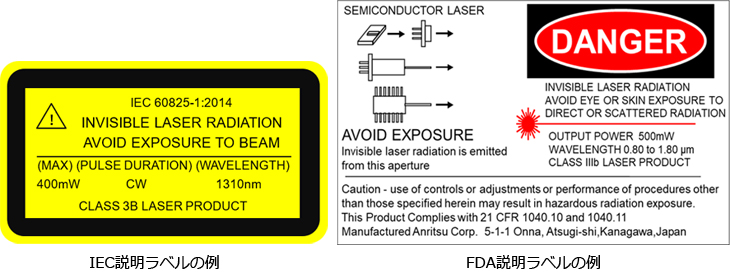 IEC説明ラベルの例、FDA説明ラベルの例