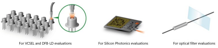 For VCSEL and DFB-LD evaluations, for Silicon Photonics evaluations and for optical filter evaluations