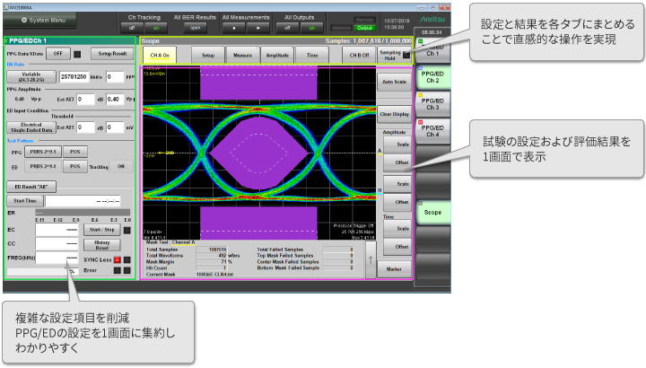 GUIによる設定操作と結果画面