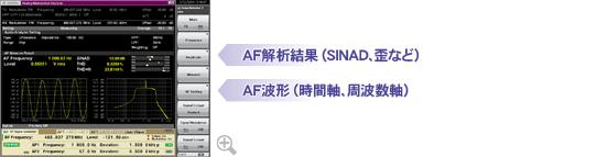AF解析結果(SINAD、歪など)、AF波形(時間軸、周波数軸)