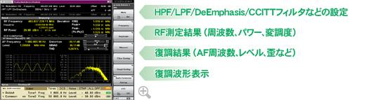 HPF/LPF/DeEmphasis/CCITTフィルタなどの設定、RF測定結果(周波数、パワー、変調度)、復調結果(AF周波数、レベル、歪など)、復調波形表示