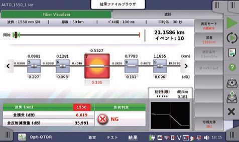 MT1000A Fiber Visualizer画面
