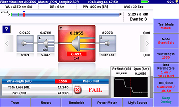 MT9085 Series, Fiber Visualizer Function Error