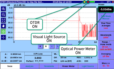 MT9085 Series, Simultaneous OTDR, Optical Power Meter and Visual Light Source Use