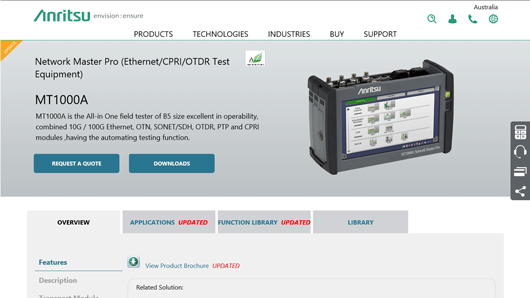 Product Page: Network Master Pro (Ethernet/CPRI/OTDR Test Equipment) MT1000A